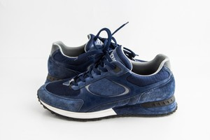 Louis Vuitton Blue Navy Suede Damier-trimmed Runaway Sneakers Shoes
