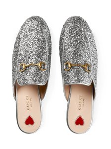 Gucci Princetown Loafer Mule Slide Silver Flats