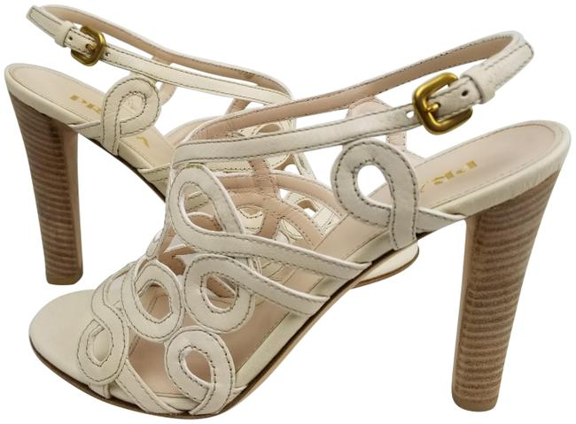 Item - White Off Creme Leather Strappy Sandals Size EU 37.5 (Approx. US 7.5) Regular (M, B)