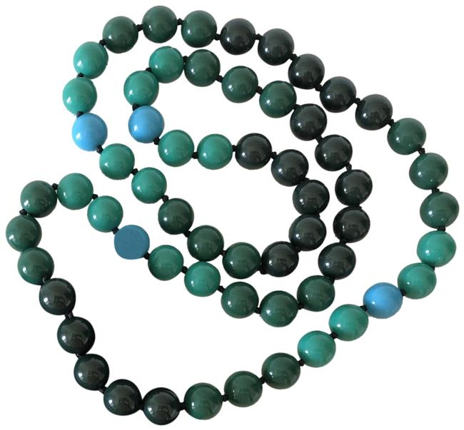 Item - Blue/Green Long Round Beaded Necklace