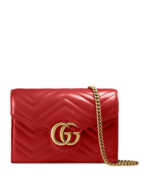 Item - Wallet on Chain Marmont New Red Lambskin Leather Cross Body Bag