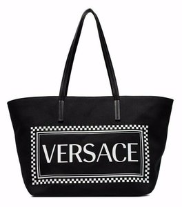 Versace Rockstud Studded Classic Quilted Fanny Tote in Black