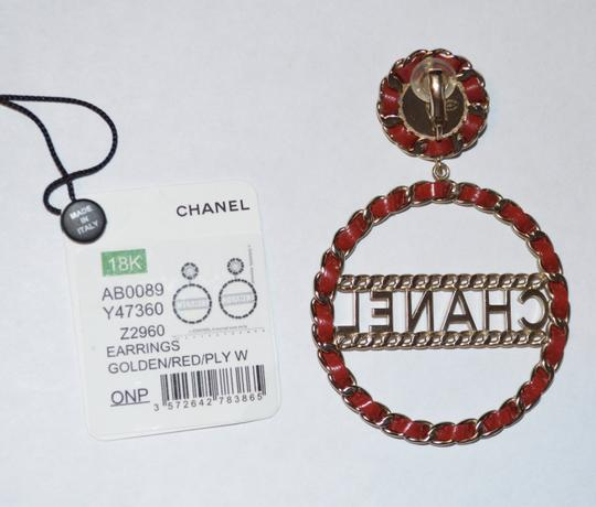 Chanel LEATHER CHAIN PEARL CIRCULAR STATEMENT EARRINGS Image 2