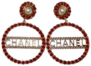 Chanel LEATHER CHAIN PEARL CIRCULAR STATEMENT EARRINGS