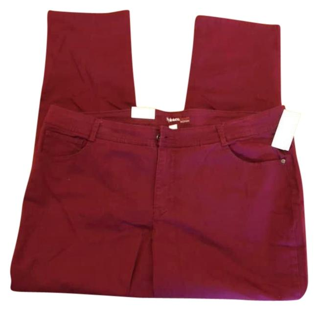 Item - Burgundy Have In Other Colors. Coated Denim Woman Slim Leg Skinny Jeans Size 24 (Plus 2x)