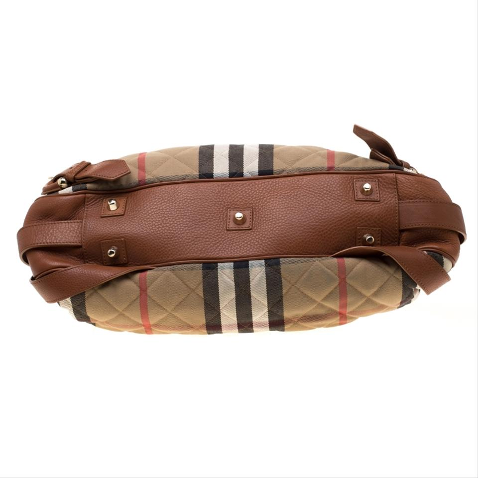 69f58ee61fd Burberry Brown/Beige and Quilted House Check Margaret Brown Leather  Shoulder Bag - Tradesy