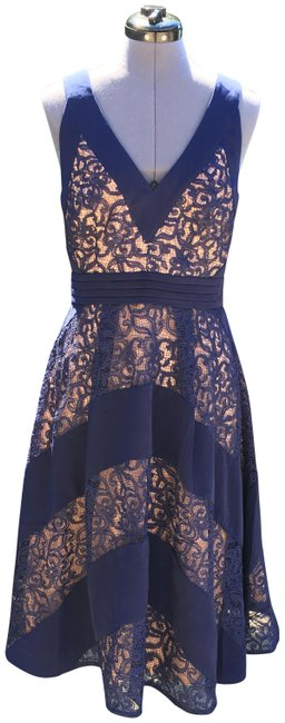 Item - Blue/Tan Mixed Lace Fit and Flare Mid-length Cocktail Dress Size 8 (M)