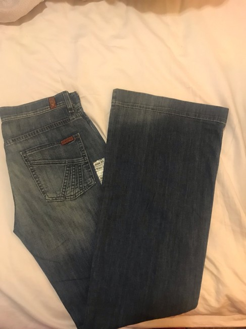 7 For All Mankind Flare Leg Jeans-Light Wash Image 4