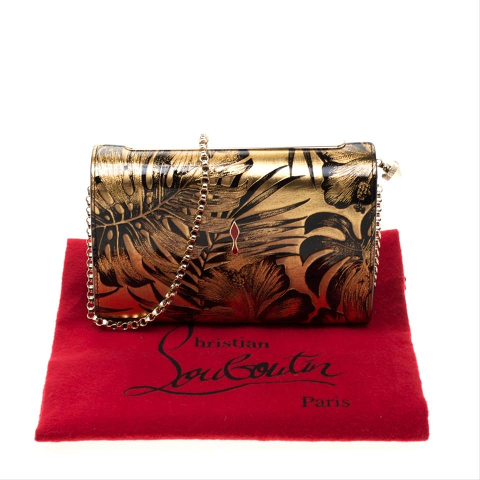 c2a4eafb15c Christian Louboutin Gold/Black Floral Chain Gold Patent Leather Clutch 34%  off retail