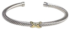 David Yurman David Yurman 4mm Sterling Silver 18k gold cable X Station Cuff