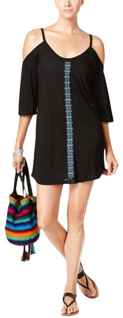 Item - Black Jewel Stones Cold Shoulder Tunic Cover-up/Sarong Size 8 (M)