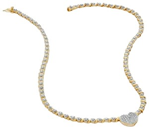 """Zales Gold Over Sterling Silver Diamond Accent Heart 18k Gold-Plated 17"""" Chocker Necklace"""