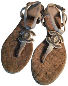Chanel GREY / BROWN CORK BED Sandals