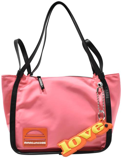 Item - Tote W Zip Top Love Keychain Pink Nylon Shoulder Bag