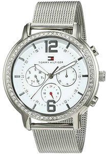 Tommy Hilfiger Tommy Hilfiger Watch White Chronograph Face & Silver MeshBand