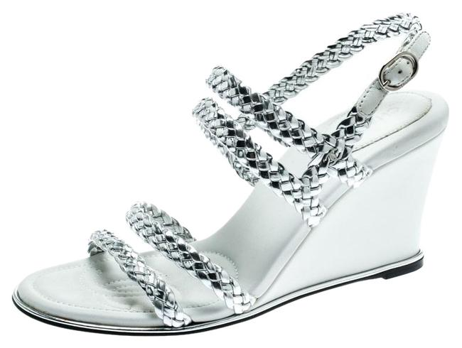 Item - Silver Metallic Braided Leather Cc Strappy Wedge Sandals Size EU 38 (Approx. US 8) Regular (M, B)