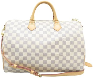 Louis Vuitton Lv Damier Azur Speedy Bandouliere Satchel in White