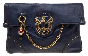 Alexander McQueen Leather Blue Clutch