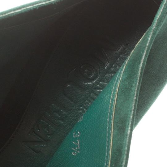 Alexander McQueen Suede Ankle Green Boots Image 6
