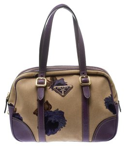 Prada Canvas Leather Satchel in Purple
