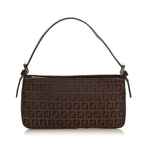 f87c1d4142e3 Fendi 8jfnbg032 Vintage Canvas Leather Baguette