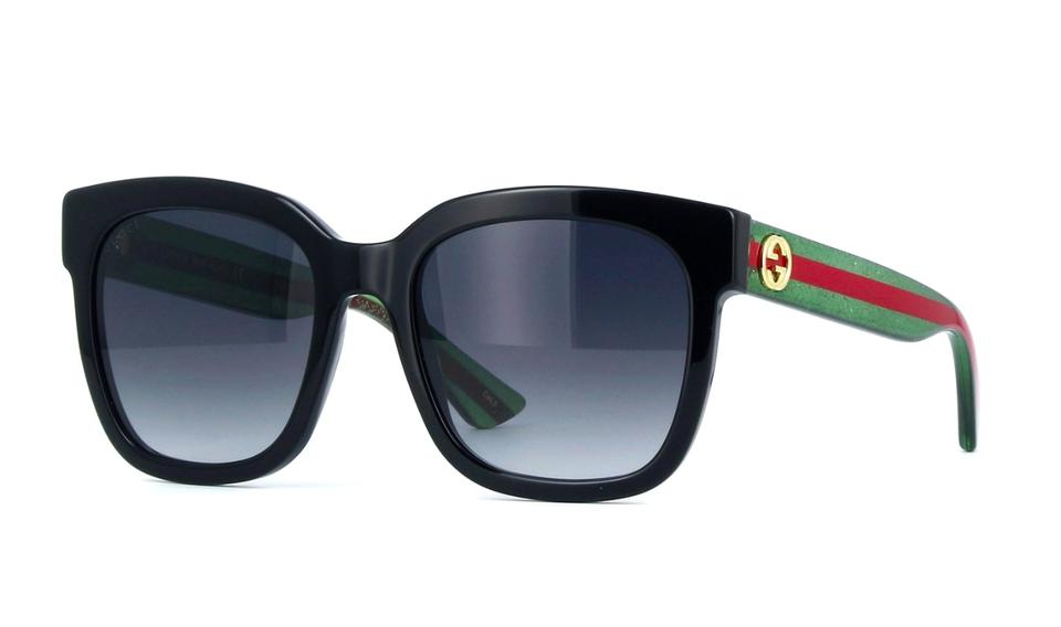 2a886816371 Gucci 002 Black Gg0034s Square Acetate Frame with Glitter Temples ...