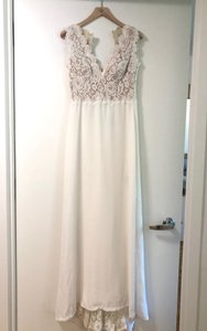 BHLDN Ivory Polyester Andora Gown Vintage Wedding Dress Size 0 (XS)