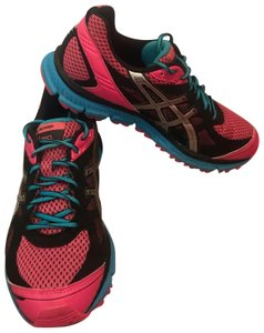 Asics hot pink and black blue and silver Athletic