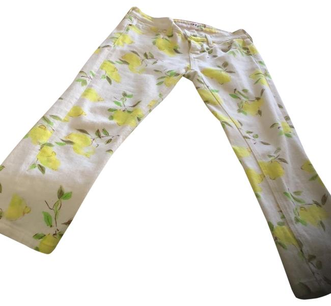 Item - Yellow and White Light Wash Live Colorfully Capri/Cropped Jeans Size 2 (XS, 26)
