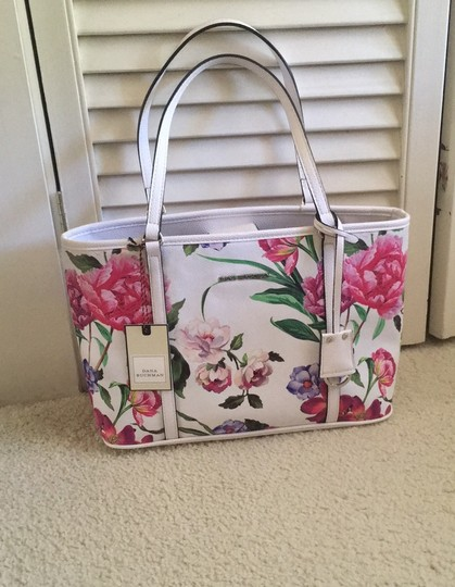 Dana Buchman Tote in white with shades of pink and mauve, little purple and green accents Image 11