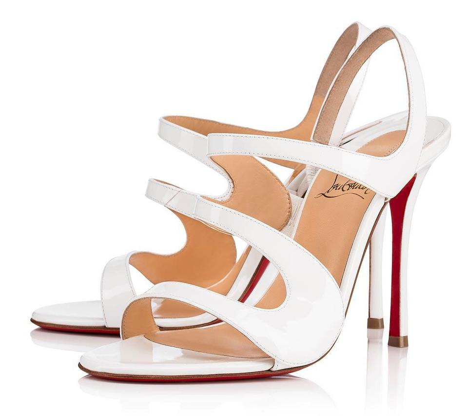 reputable site 3c9bb bc092 Christian Louboutin White Patent Leather Vavazou Wavy Cutout 100mm Heels  B518 Sandals Size EU 39.5 (Approx. US 9.5) Regular (M, B) 34% off retail