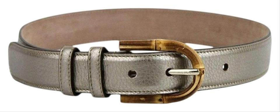 9adfc3588 Gucci Women's Metallic Leather Belt with Bamboo Buckle 322954 9524 (85 / 34)  Image ...