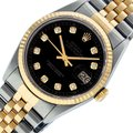 Rolex Mens Stainless steel/ Yellow Gold with Black Diamond Dial and Fluted