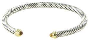 David Yurman Cable Classics Bangle Bracelet 5mm Citrine Diamond 14K Gold Sterling