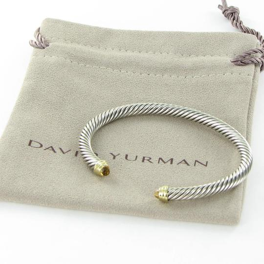 David Yurman Cable Classics Bangle Bracelet 5mm Citrine Diamond 14K Gold Sterling Image 4