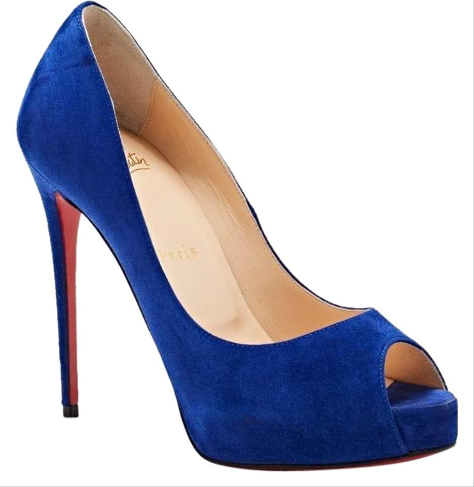 new products 7520f 297d7 Christian Louboutin Blue Suede New Very Prive 120mm Peep Toe Platform Heels  B527 Pumps Size EU 40 (Approx. US 10) Regular (M, B) 33% off retail