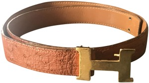Hermes Hermes Mini Constance Caramel Genuine Ostrich Belt.-76cm/30 inches