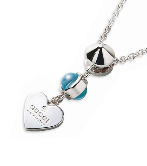 Gucci Gucci Trademark Engraved Heart & Blue Topaz Necklace Image 1