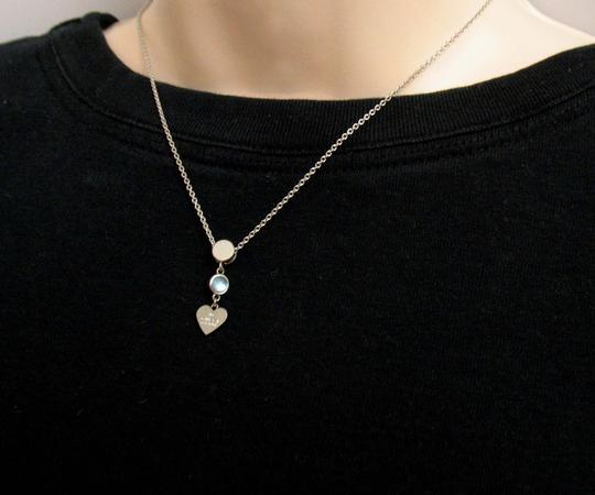 Gucci Gucci Trademark Engraved Heart & Blue Topaz Necklace Image 3