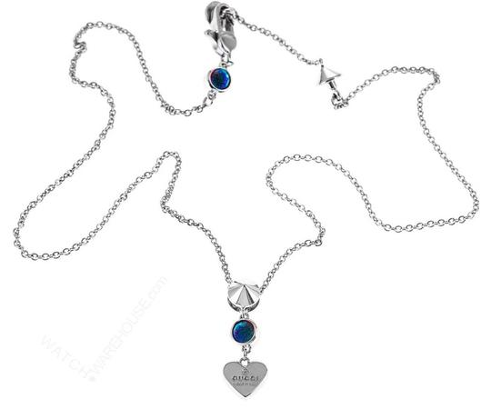 Gucci Gucci Trademark Engraved Heart & Blue Topaz Necklace Image 4