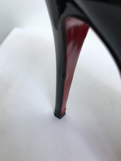 Christian Louboutin Heels Square Toe Patent Leather Red black Pumps Image 6