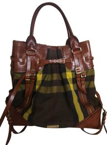 Burberry Prorsum Tote in Green, brown, and yellow plaid