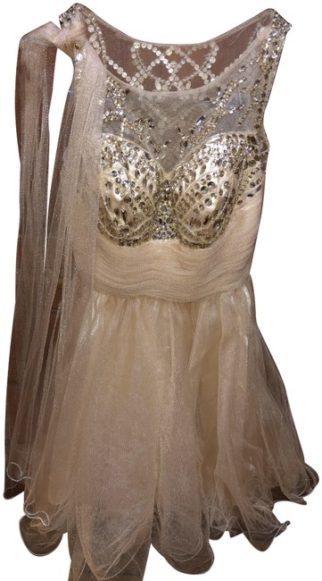 Item - Gold Cute Short Night Out Dress Size 4 (S)