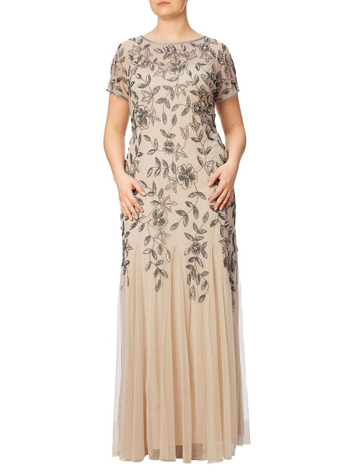 Adrianna Papell Taupe Pink Beaded Godet Gown Short Sleeves Long Formal  Dress Size 20 (Plus 1x)