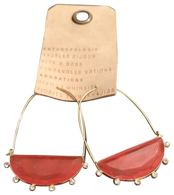 Item - Coral Farin Crescent Hoops Earrings