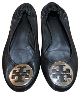 Tory Burch Black with silver Flats