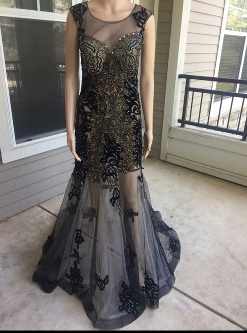 Unbranded Bronze Black Prom Party Long Formal Dress Size 6 (S) Unbranded Bronze Black Prom Party Long Formal Dress Size 6 (S) Image 3