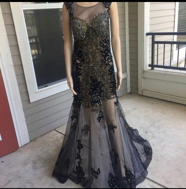 Unbranded Bronze Black Prom Party Long Formal Dress Size 6 (S) Unbranded Bronze Black Prom Party Long Formal Dress Size 6 (S) Image 4