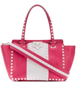 Valentino Rockstud Leather Tote in Pink/White