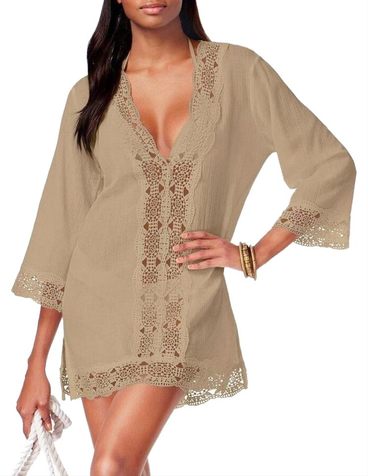 7308f1be11cac La Blanca Pebble Island Fare V-neck Cotton Tunic Cover-up/Sarong ...